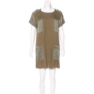 Isabel Marant Silk-Accented Washed Olive Zip Dress